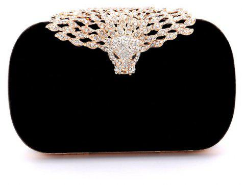 Women Velvet Evening Bag Crystal Rhinestone For Wedding Event Party Formal - BLACK