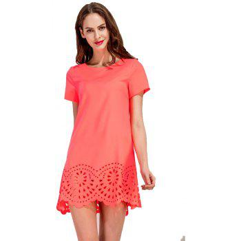 Round Collar Fashion A-line Mini Dress - ORANGE S