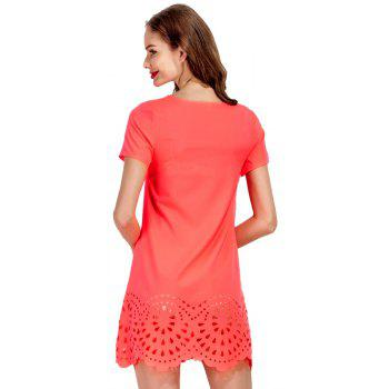 Mini robe à col rond A-ligne - Orange M