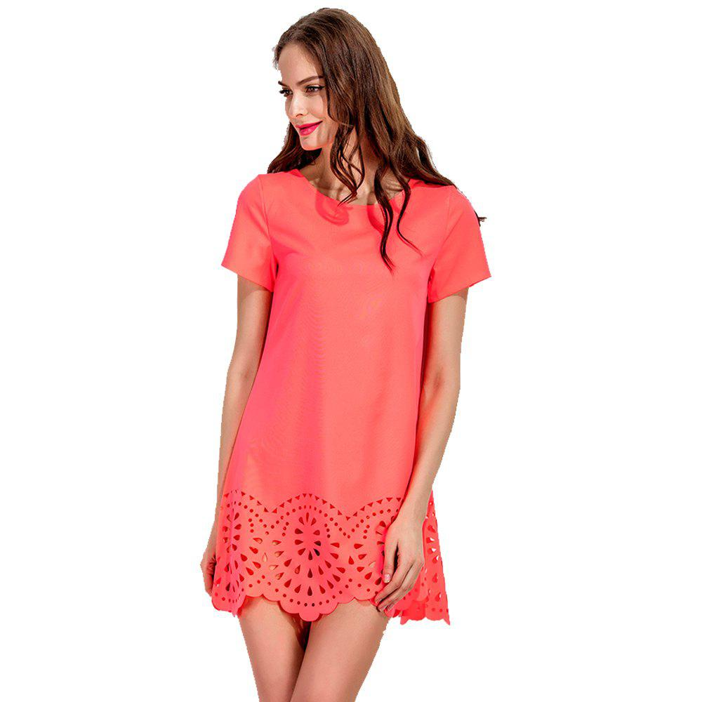 Round Collar Fashion A-line Mini Dress - ORANGE M