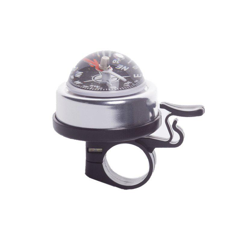 LEADBIKE 5 Colors Aluminum alloy and Plastic Bicycle Compass Bell Cyclin Handlebar Ring Horn Mountain Road Bike Alarm - SILVER