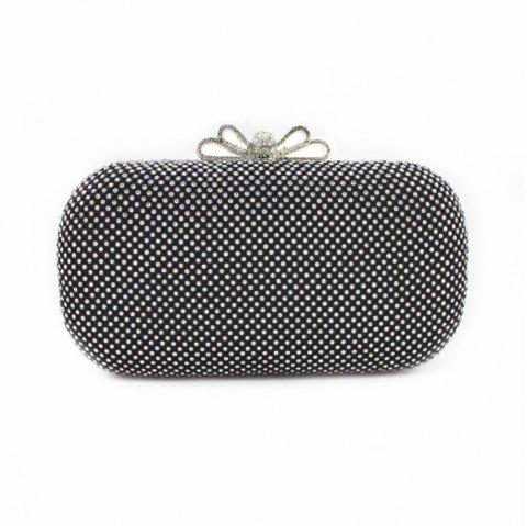 The bowknot Crystal Evening Bag Clutch Bags Clutches Wedding Purse Rhinestones Wedding Handbags - BLACK