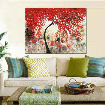 Pure Hand Painted Abstract Impasto Palette Knife Red Flower Tree Canvas Oil Painting Living Room Bedroom Home Wall Decor - RED 24 X 36 INCH (60CM X 90CM)