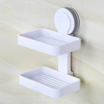 Suction Cup Wall Drain Drain European Soap Tray Creative Hole-Free Toilet Large Double Shelves - GRAY 13X8.5X17.5CM