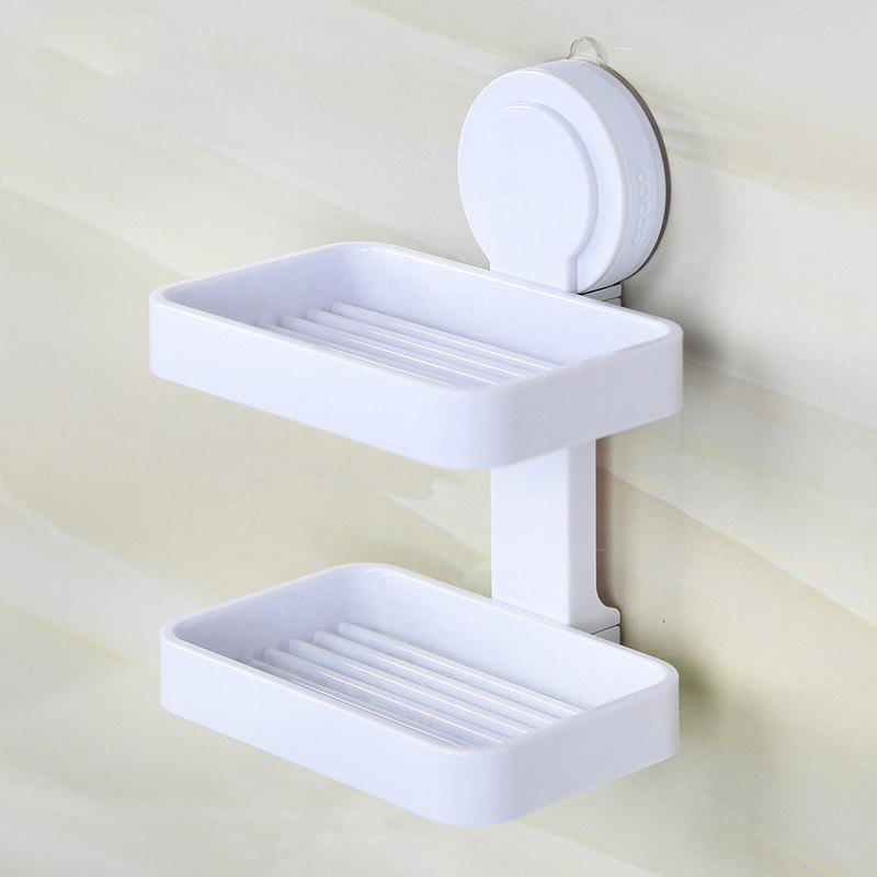 Suction Cup Wall Drain Drain European Soap Tray Creative Hole-Free Toilet Large Double Shelves - WHITE 13X8.5X17.5CM
