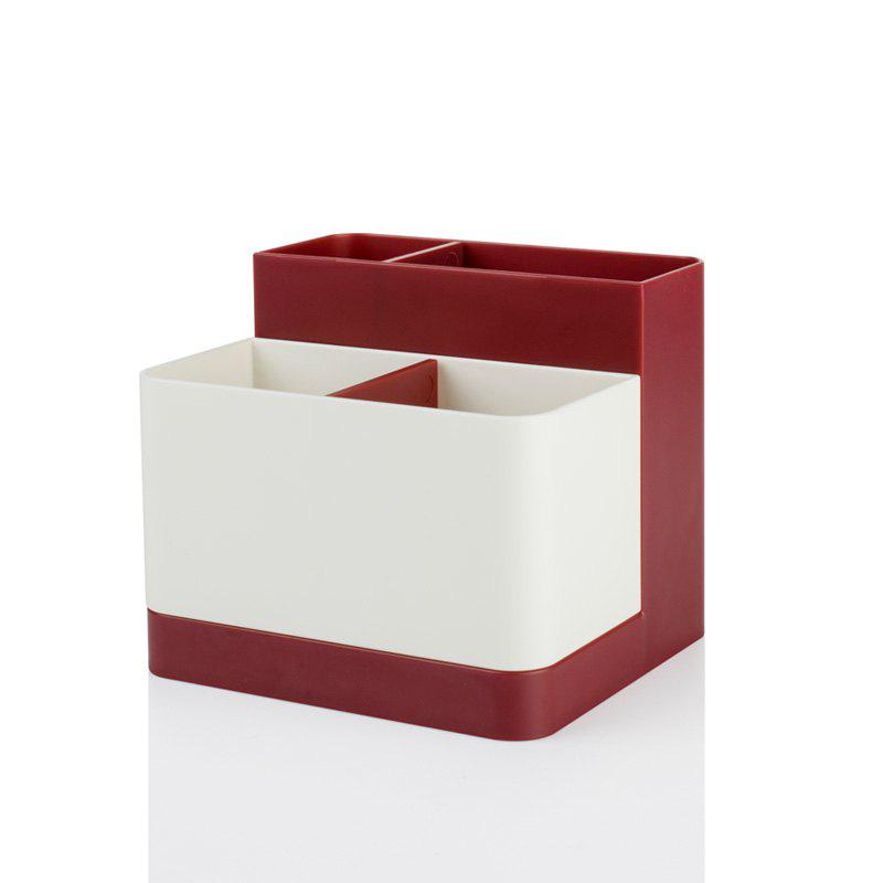 Removable Partition Desktop Student Stationery Storage Box - RED 12.5X11.3X10.7CM