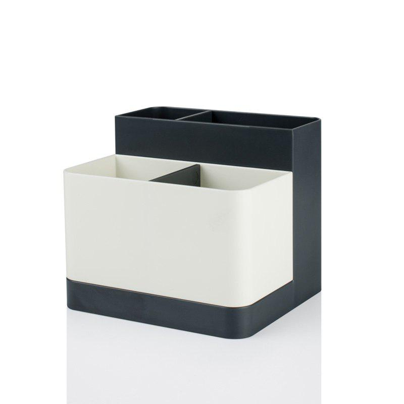 Removable Partition Desktop Student Stationery Storage Box - GRAY 12.5X11.3X10.7CM