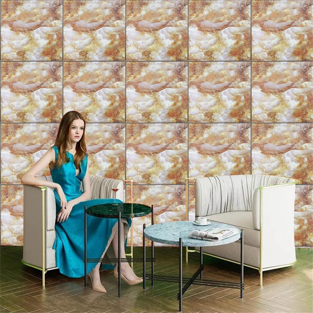 PVC Marble Pattern Fashion Wall Stickers - DEEP YELLOW 30X30CM