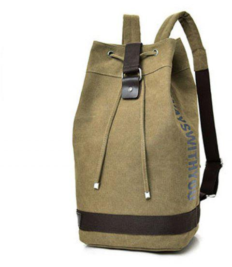 Canvas Sports Drum Bag Travel Computer Backpack Unisex - KHAKI VERTICAL