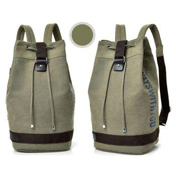 Canvas Sports Drum Bag Travel Computer Backpack Unisex - GREEN VERTICAL