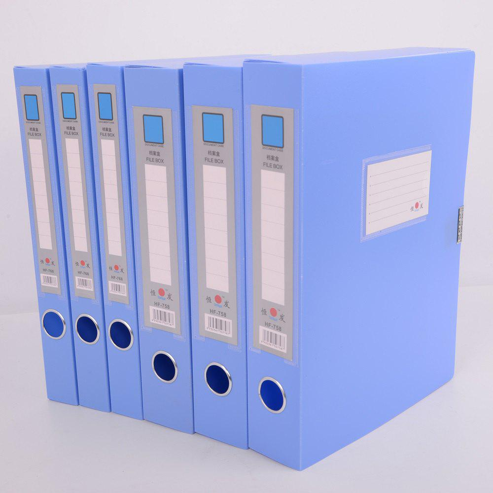 A4 File Box 3.5CM Plastic  Light Blue PP  New Material - BLUE