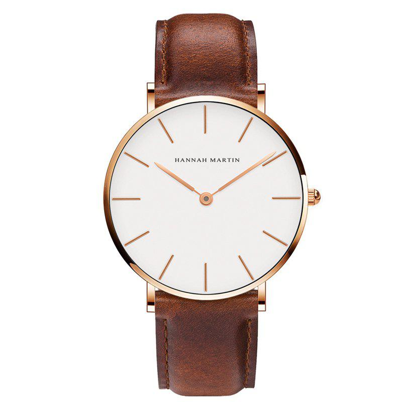 Hannah Martin CB01 Ultra-thin Waterproof Unisex Quartz Watch - BROWN/GOLD