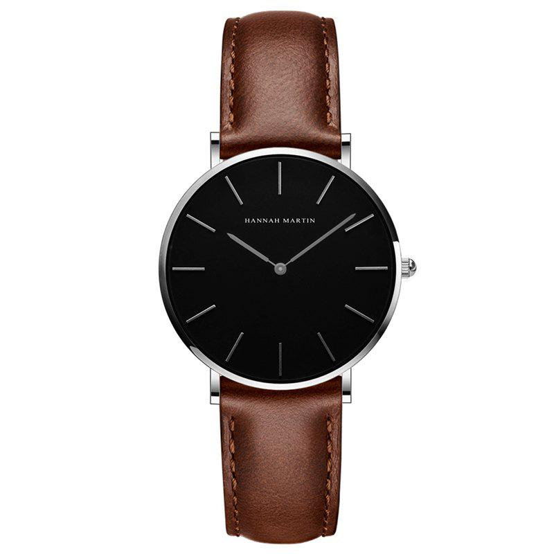 Hannah Martin CH36  Japanese Movement Waterproof Fashion Casual Ladies Quartz Watch - BROWN/WHITE