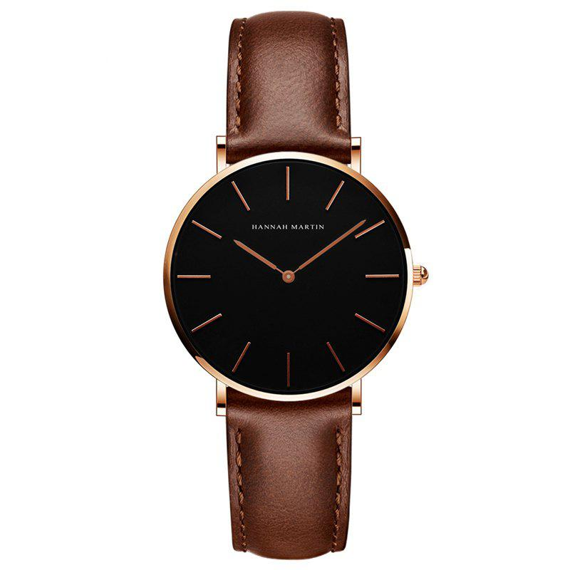 Hannah Martin CH36  Japanese Movement Waterproof Fashion Casual Ladies Quartz Watch - BROWN/GOLD