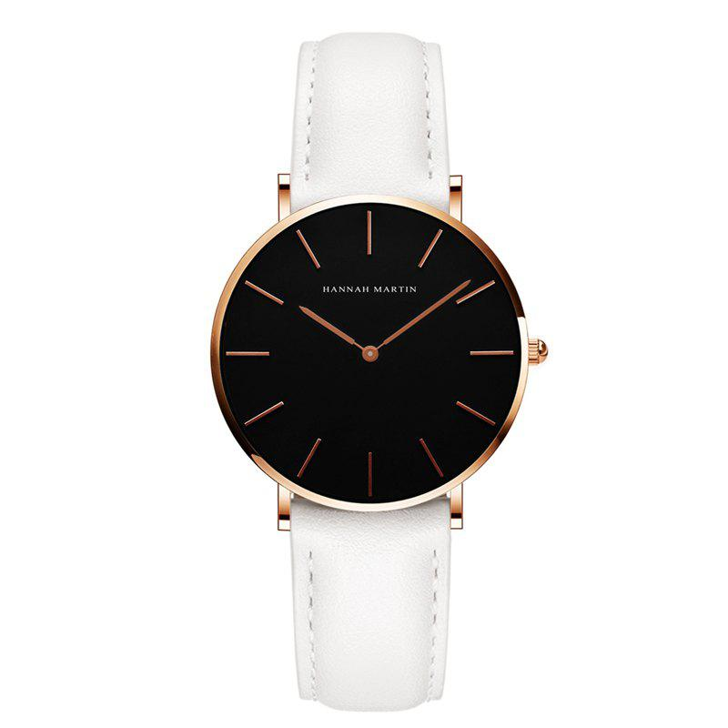 Hannah Martin CH36  Japanese Movement Waterproof Fashion Casual Ladies Quartz Watch - WHITE/GOLD
