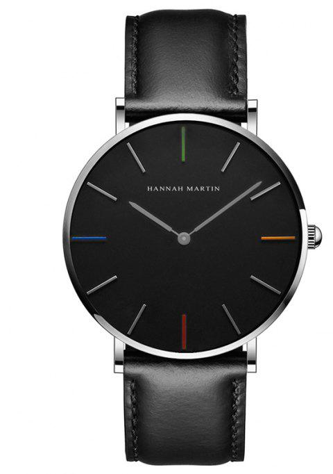 Hannah Martin 3690-2 Japanese Movement Men's Slim and Stylish Quartz Watch - BLACK/BLUE