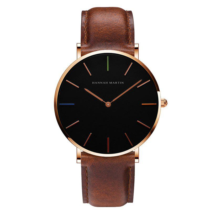 Hannah Martin 3690-2 Japanese Movement Men's Slim and Stylish Quartz Watch - BROWN/GOLD