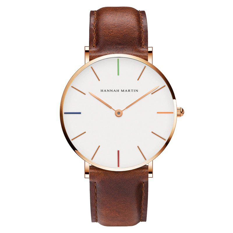 Hannah Martin 3690-2 Japanese Movement Men's Slim and Stylish Quartz Watch - BROWN
