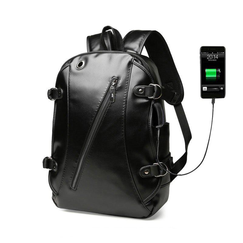 High Quality Practical PU Leather Men Backpack with Headphone Port - BLACK
