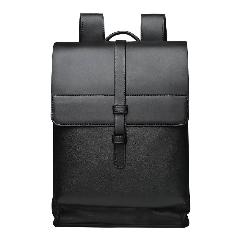 Fashion Men Travel  Bag PU High Quality Backpack - BLACK