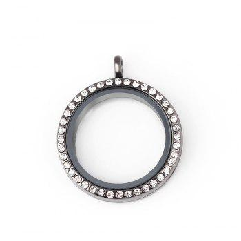 Floating Glass Round Locket Chain Pendant For Jewelry DIY - GUNMETAL SIZE 3