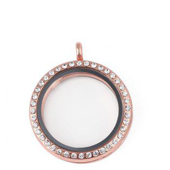 Floating Glass Round Locket Chain Pendant For Jewelry DIY - ROSE GOLD SIZE 3