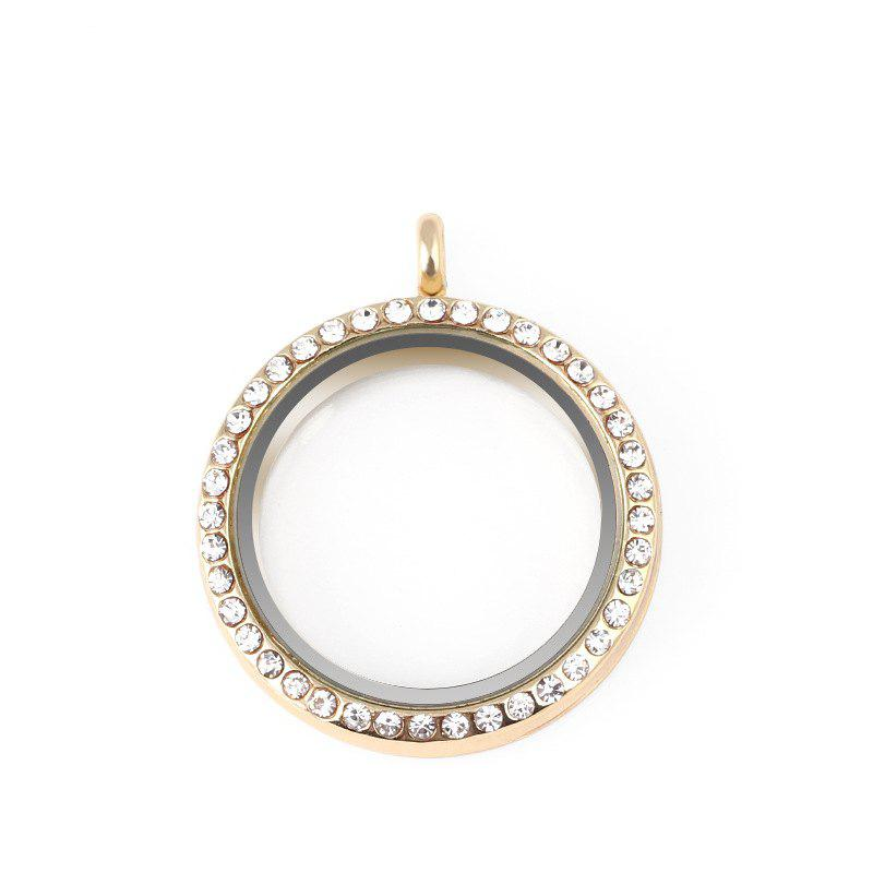 Floating Glass Round Locket Chain Pendant For Jewelry DIY - GOLD SIZE 3