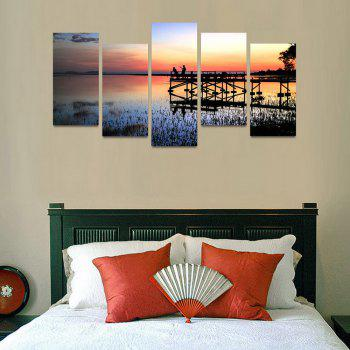 MailingArt FIV207  5 Panels Landscape Wall Art Painting Home Decor Canvas Print - COLORMIX 30X60CM 4PCS + 30X80CM 1PC   12X24INCH 4PCS + 12X3