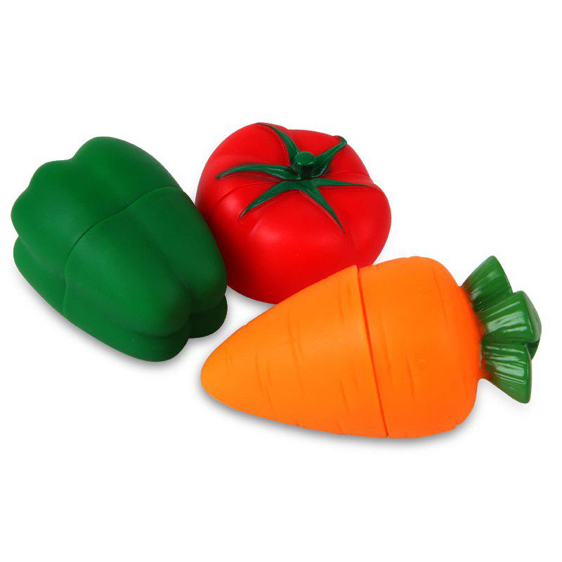 Jouet de construction souple en forme de légumes 3PCS - multicolore