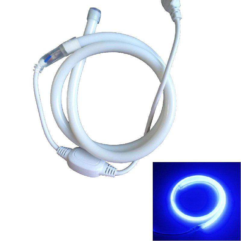 1PC 1M 9W 120LEDS Waterproof Circular Led Neon Tube Led Sign Board Tube Flexible Strip With Power Cord - BLUE LIGHT EU PLUG