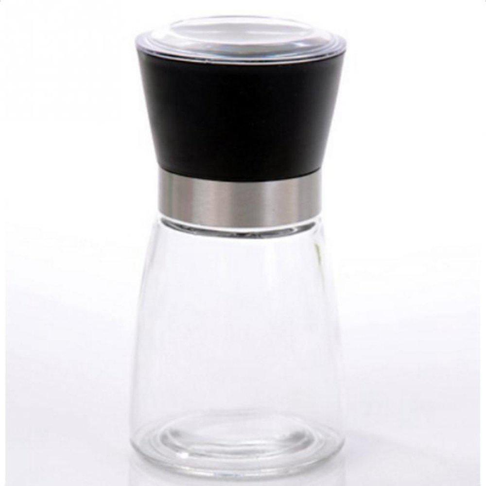 Pepper Grinder Mill Glass Salt Herb Spice Hand Manual Cooking BBQ Seasoning Kitchen Tools - BLACK