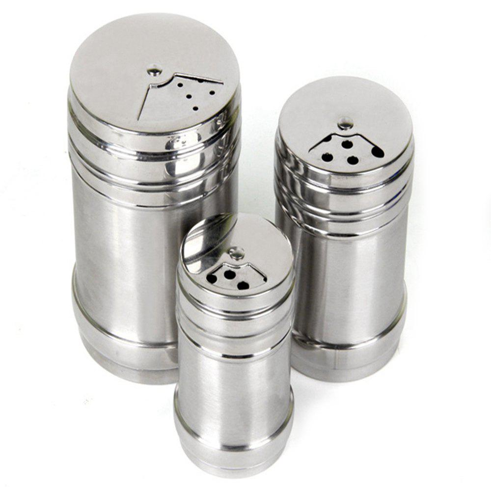 3 Pcs Stainless Steel Spice Jar Seasoning Can Sugar Box Kitchen Tool - SILVER