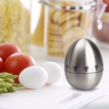 Mechanical Egg Shape Kitchen Cooking Timer Countdown 60 Minutes Alarm Stainless Steel  Timer - SILVER