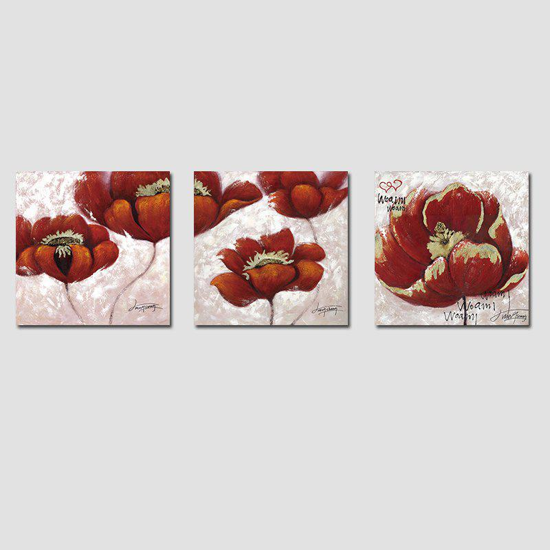 QiaoJiaHuaYuan No Frame Canvas Living Room Sofa Background Three Sets of Red Flowers - COLORMIX 40CMX40CMX3