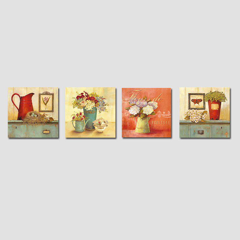 QiaoJiaHuaYuan No Frame Canvas Living room Sofa Background Four Pieces of Garden Landscape Decoration Hanging Pictures - COLORMIX 40CMX40CMX4