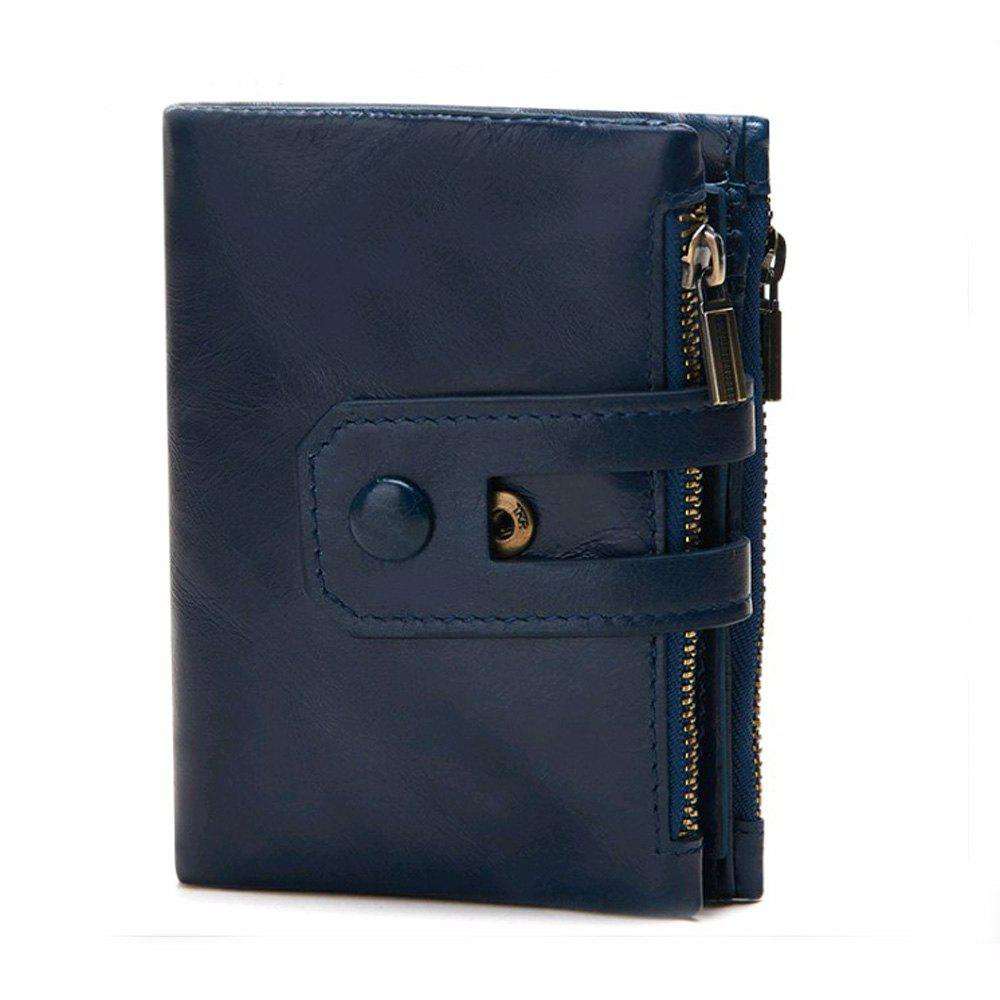 Dermis Men Zipper Short Purse - BLUE