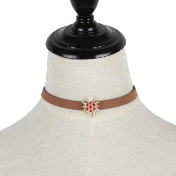 Brown Korean Choker Necklace Collar Creative Section Diamond Star Short Women Clavicle Chain - GOLD/RED
