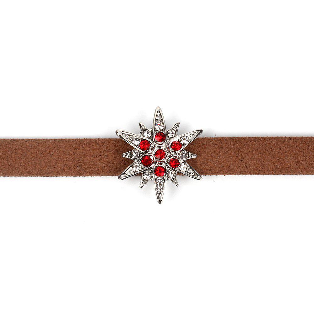 Brown Korean Choker Necklace Collar Creative Section Diamond Star Short Women Clavicle Chain - SILVER/RED