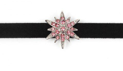 Black Korean Choker Necklace Collar Creative Section Diamond Star Short Female Clavicle Chain - SILVER / PINK