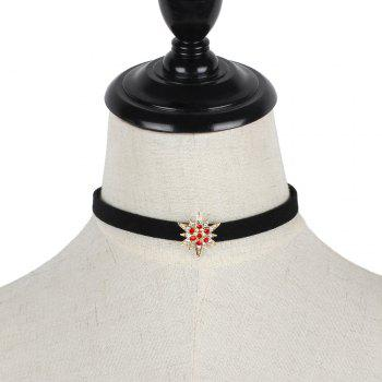 Black Korean Choker Necklace Collar Creative Section Diamond Star Short Female Clavicle Chain - GOLD/RED