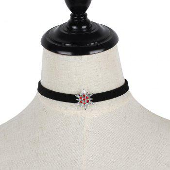 Black Korean Choker Necklace Collar Creative Section Diamond Star Short Female Clavicle Chain - SILVER/RED