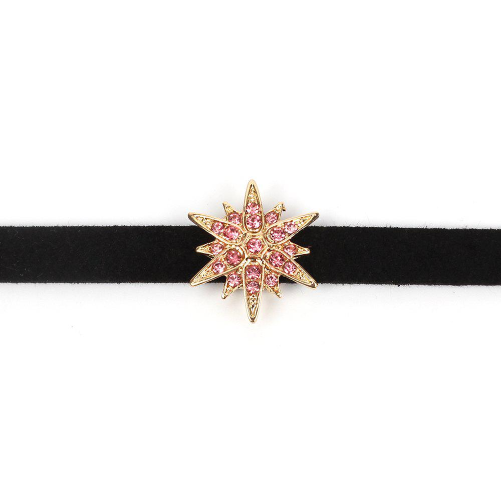 Black Korean Choker Necklace Collar Creative Section Diamond Star Short Female Clavicle Chain - GOLD/PINK