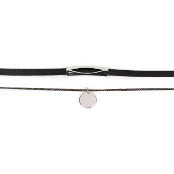 Creative Geometric Sequins Multi-layered Female Personality Wild Choker Necklace - BLACK / SILVER