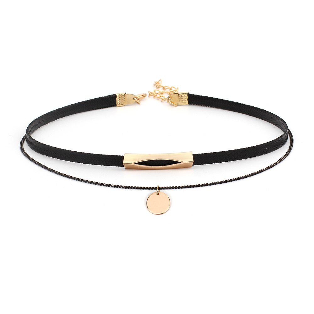 Creative Geometric Sequins Multi-layered Female Personality Wild Choker Necklace - BLACK GOLD