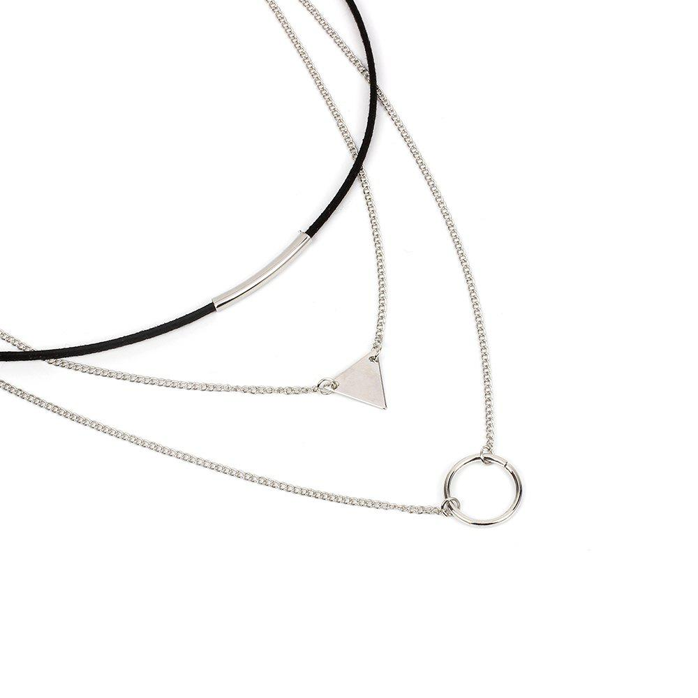 Geometric Sequins Triangular Multilayer Korean Choker Circle Necklace Collar - SILVER