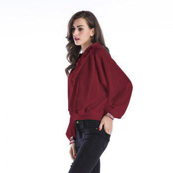 New Women Long Sleeve Hoodie Hooded Jumper Pullover Tops - WINE RED 3XL
