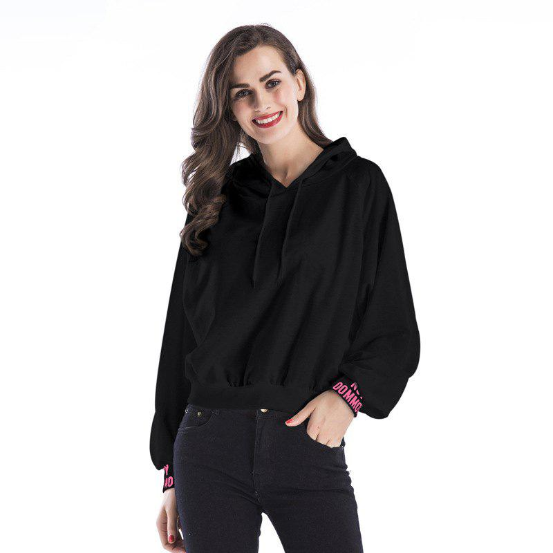 New Women Long Sleeve Hoodie Hooded Jumper Pullover Tops - BLACK XL