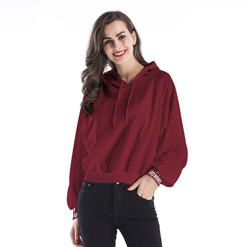 New Women Long Sleeve Hoodie Hooded Jumper Pullover Tops - WINE RED L