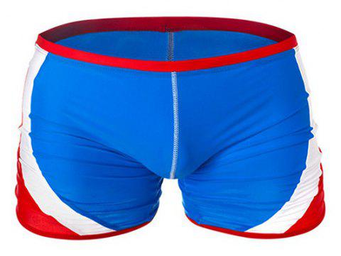 Fashion Men's Trunk Rapid Splice Square Solid Jammer Shorts Jammers Swim Suit - BLUE / RED XL
