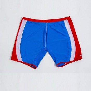 Fashion Men's Trunk Rapid Splice Square Solid Jammer Shorts Jammers Swim Suit - BLUE / RED M